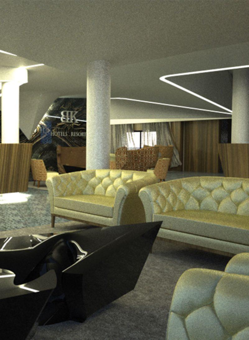 Hotel BK, reformulação de edifício existente. Revestimento em chapa, com formas organicas inspiradas na paisagem envolvente. Projeto Obra Atelier