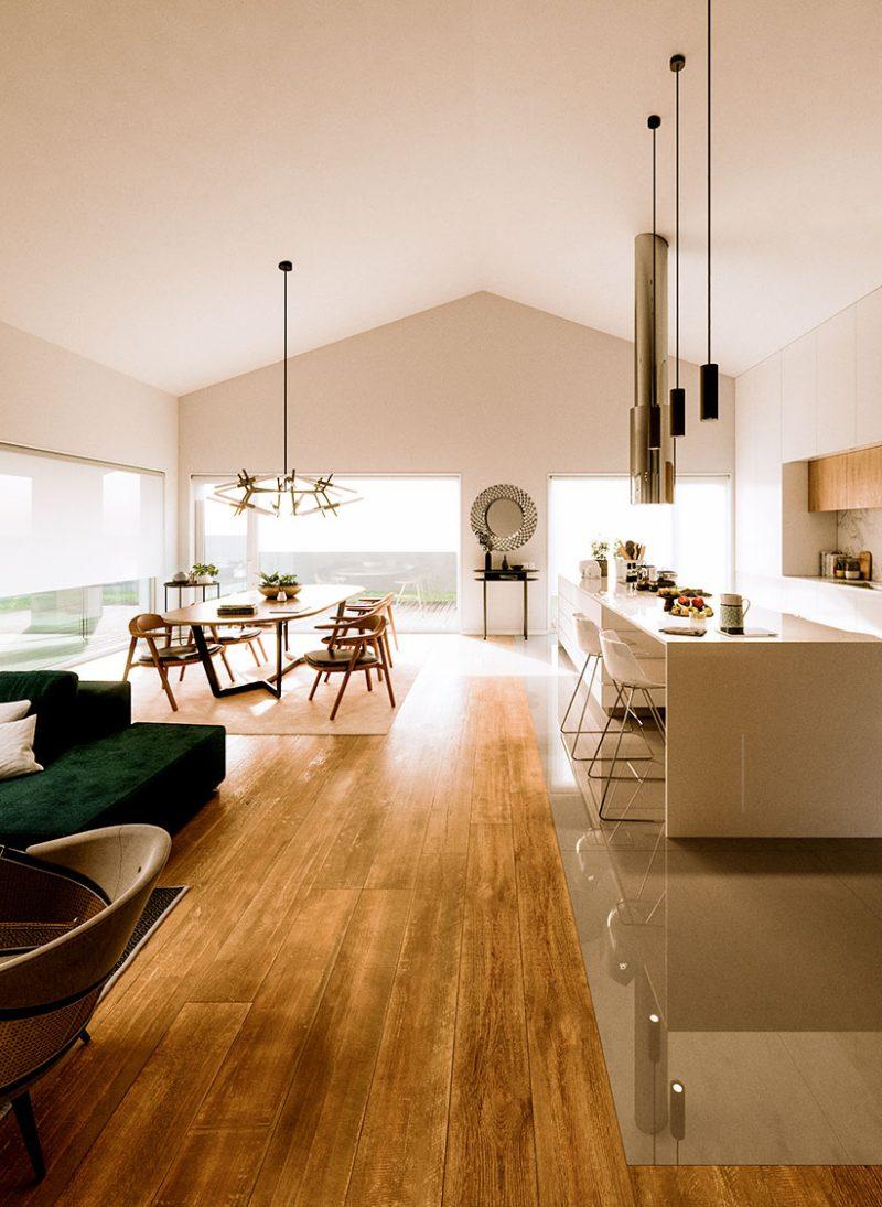 Casa lote 04- Cobertura inclinada em arquitetura moderna. teto inclinado sala comum. Projeto Obraatelier