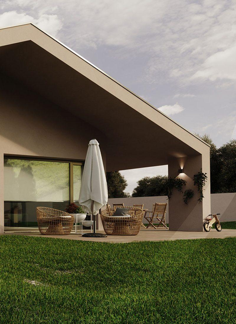 Casa lote 04- Cobertura inclinada em arquitetura moderna. janelas entrada de luz natural. Projeto Obraatelier