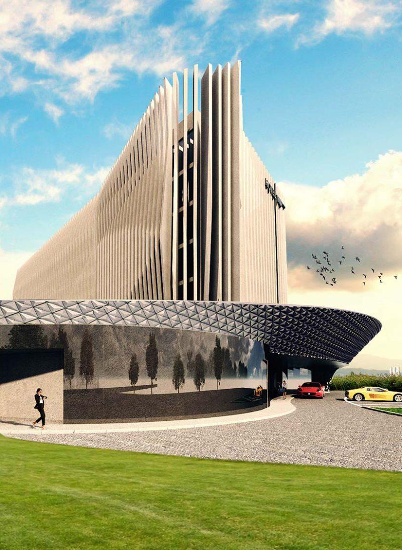 hotel-de-negocios-vnf. O relogio é a inspiração para o projeto do hotel. entrada do hotel.  Projeto Obra Atelier