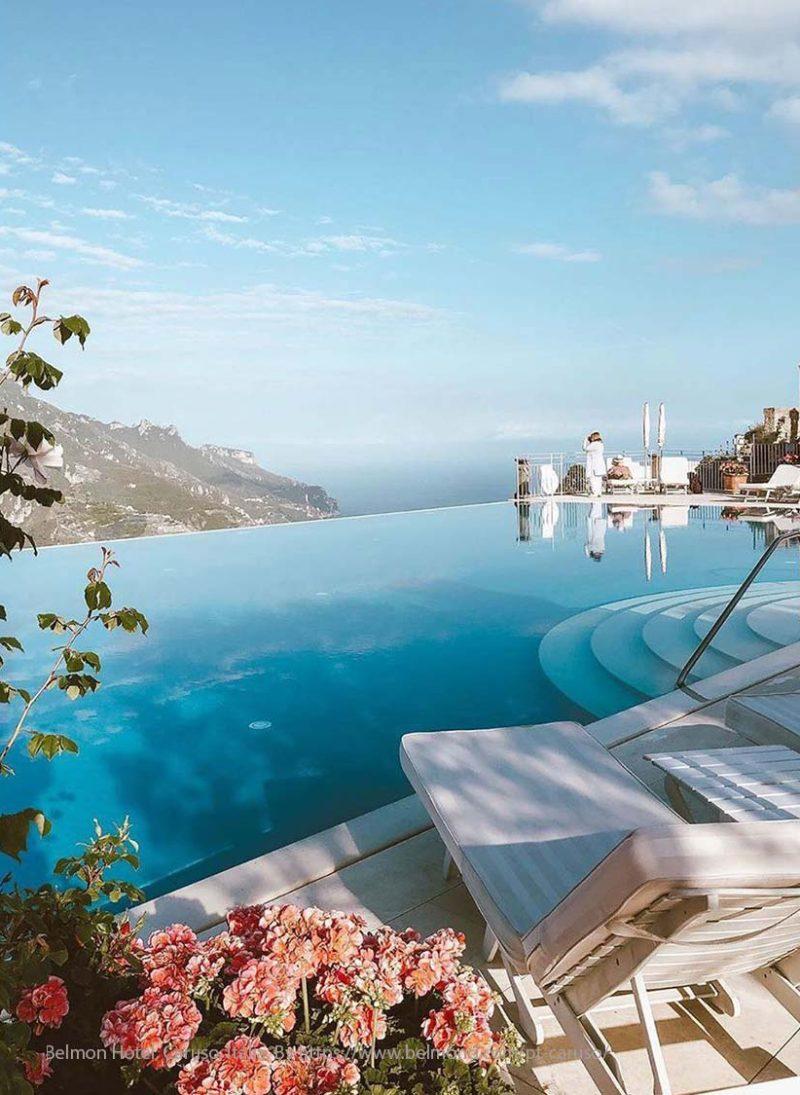Piscina infinita: 12 piscinas de tirar o folego. piscina infinita no hotel Belmont, Caruso Italia. Blog Obra Atelier