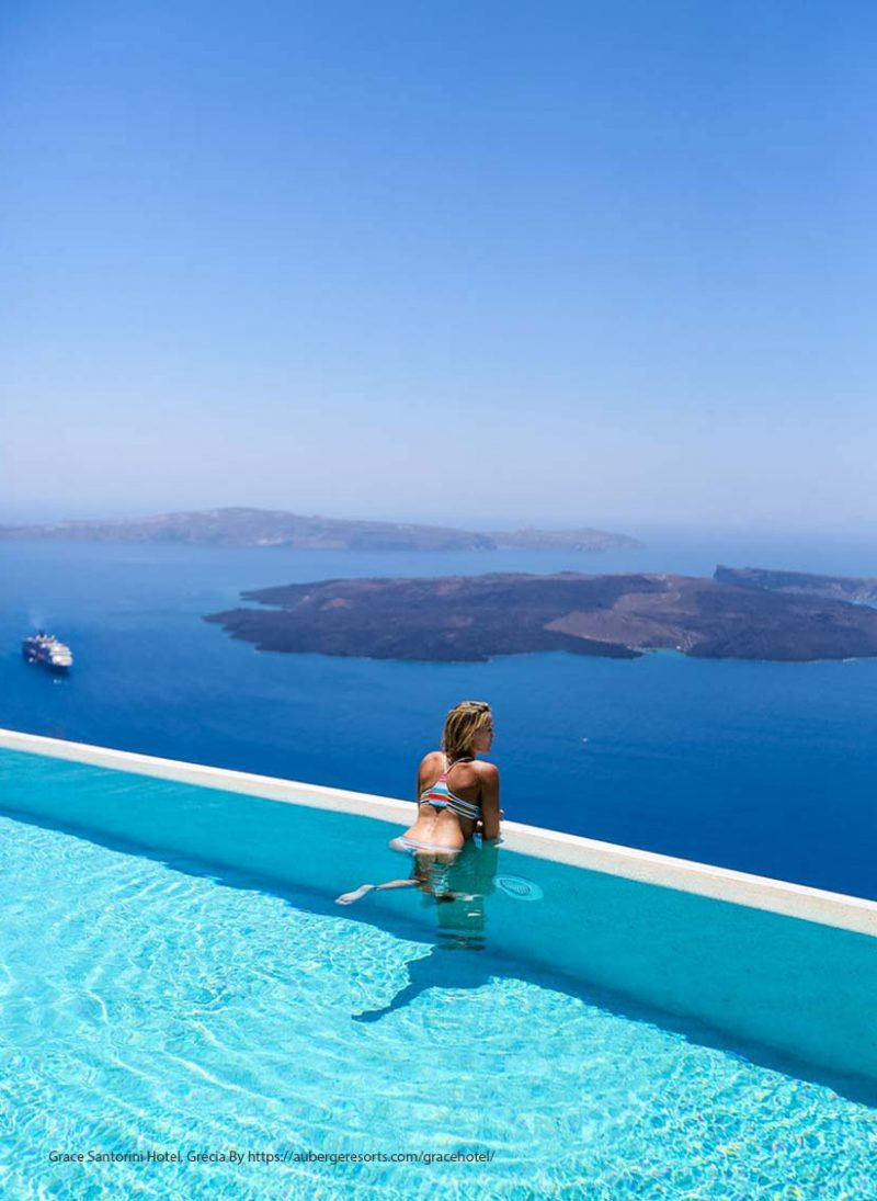 Piscina infinita: 12 piscinas de tirar o folego. piscina infinita no hotel Grace Santorini, Santorini, Grécia. Blog Obra Atelier